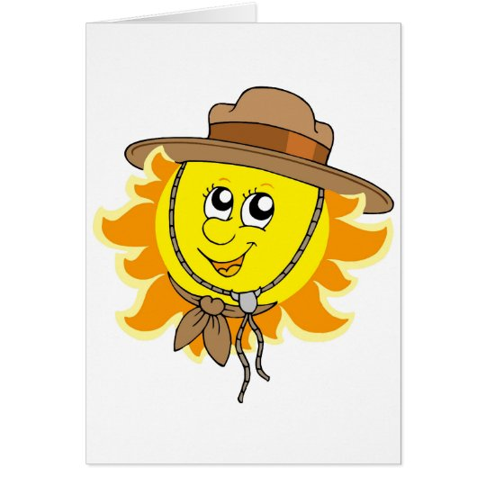 Sun in scout hat card
