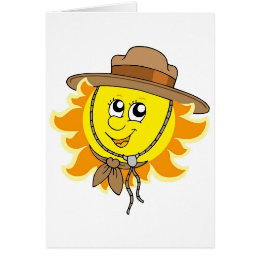 Sun in scout hat greeting cards
