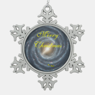 Sun in  the Milky Way NASA Snowflake Pewter Christmas Ornament