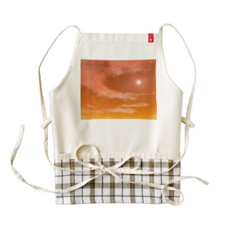 Sun in the sunset sky background - 3D render Zazzle HEART Apron