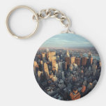 Sun Is Setting On New York City City-scape View Basic Round Button Keychain