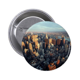 Sun Is Setting On New York City City-scape View 2 Inch Round Button