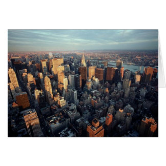 Sun Is Setting On New York City City-scape View Greeting Card