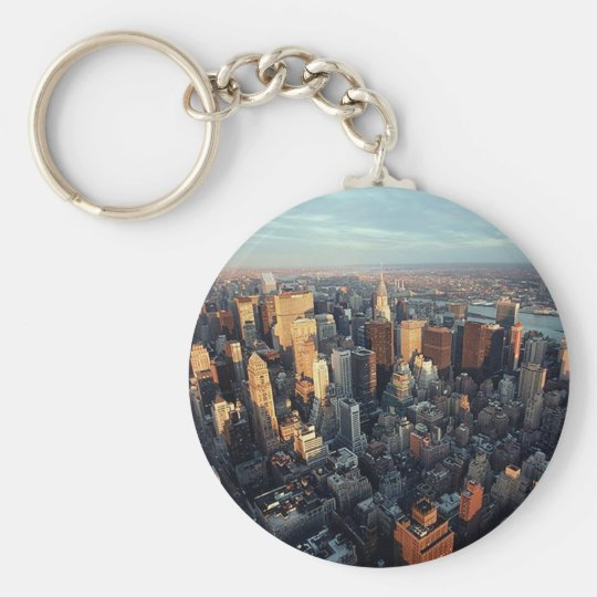 Sun Is Setting On New York City City-scape View Keychain