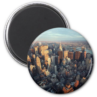 Sun Is Setting On New York City City-scape View 2 Inch Round Magnet