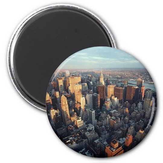 Sun Is Setting On New York City City-scape View Magnet