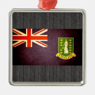Sun kissed British Virgin Islands Flag Square Metal Christmas Ornament