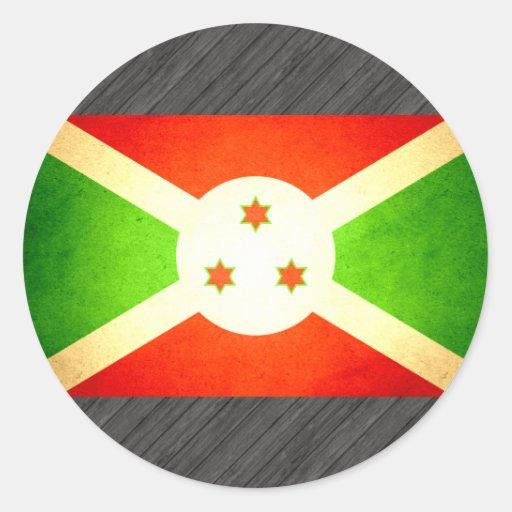 Sun kissed Burundi Flag Round Stickers