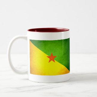 Sun kissed French Guiana Flag Two-Tone Coffee Mug