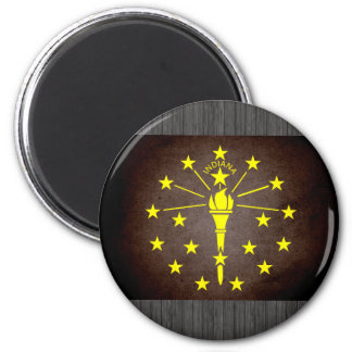 Sun kissed Indiana Flag 2 Inch Round Magnet