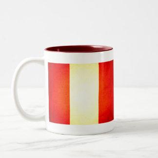 Sun kissed Peru Flag Two-Tone Coffee Mug