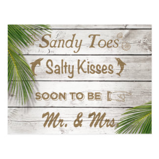 Sun Kissed Sandy Toes Salty Kisses Save the Date Postcard