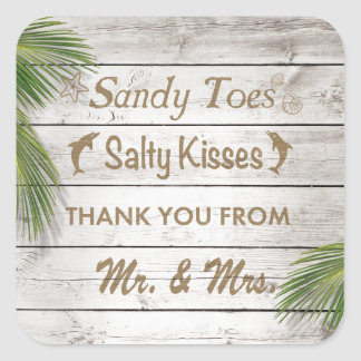 Sun Kissed Sandy Toes Salty Kisses Thank You Square Sticker