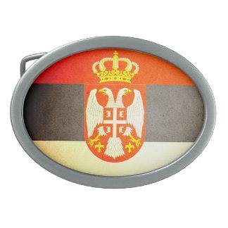Sun kissed Serbia Flag Oval Belt Buckles