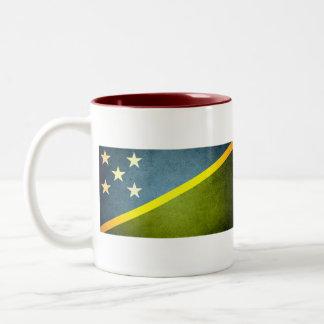 Sun kissed Solomon Islands Flag Two-Tone Coffee Mug