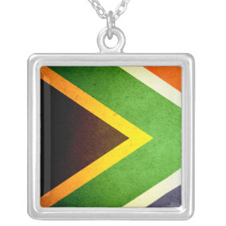 Sun kissed South Africa Flag Square Pendant Necklace
