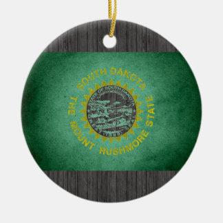 Sun kissed South Dakota Flag Christmas Ornaments