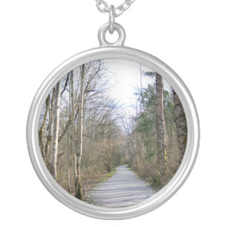 Sun-kissed Winter Branches Round Pendant Necklace