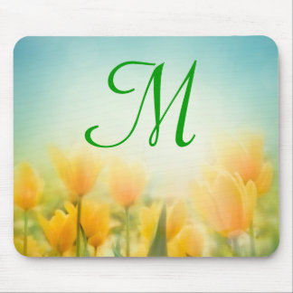 Sun Kissed Yellow Tulip Monogram Initial Mouse Pad