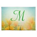 Sun Kissed Yellow Tulip Monogram Initial Place Mat