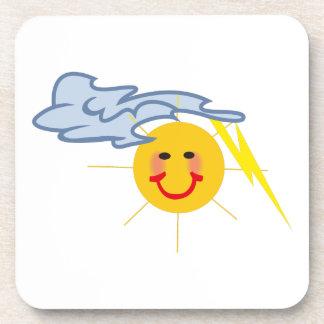 Sun Lightning Cloud Drink Coaster