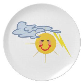 Sun Lightning Cloud Party Plates