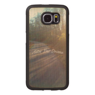 Sun Lit Nature Path in Woods Follow Your Dreams Wood Phone Case