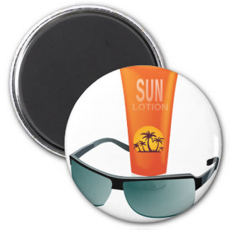 Sun Lotion 2 Inch Round Magnet