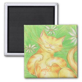 "Sun Lover ""Purrfect!' magnet square Refrigerator Magnets"