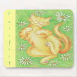 Sun Lover 'Purrfect' mousepad yellow