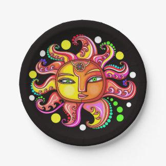 Sun, luna, protagoniza la placa de papel plato de papel de 7 pulgadas