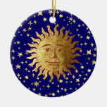 Sun, luna y estrellas adorno navideño redondo de cerámica