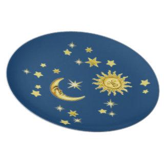 Sun, luna y estrellas plato de cena