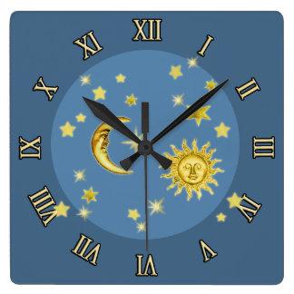 Sun, luna y estrellas reloj cuadrado