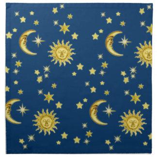 Sun, luna y estrellas servilletas