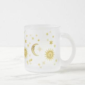Sun, luna y estrellas taza de cristal