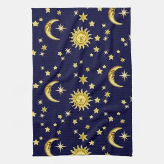 Sun, luna y estrellas toalla de mano