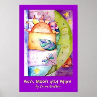 Sun luna y poster de las estrellas