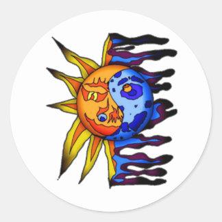 Sun/luna Yin Yang Pegatina Redonda