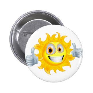 Sun man cartoon character button