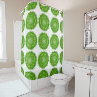 Sun Mandala green Shower Curtain