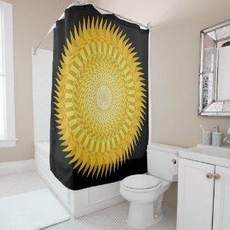 Sun Mandala in Yellow Shower Curtain