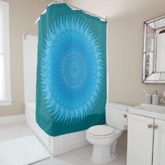 Sun Mandala Light blue Shower Curtain