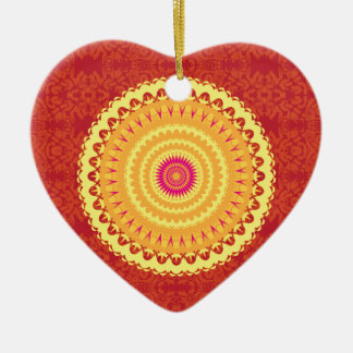 Sun Mandala Double-Sided Heart Ceramic Christmas Ornament