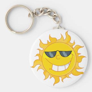 Sun Mascot Cartoon With Sunglasses Keychain