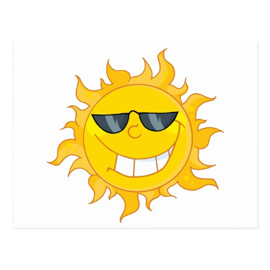 Sun Mascot Cartoon With Sunglasses Postcard