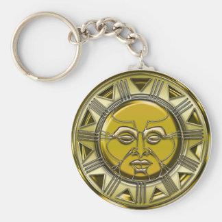 Sun maya metálico grabado en relieve llavero redondo tipo pin