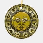 Sun maya metálico grabado en relieve ornatos