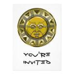 Sun metálico maya grabado en relieve invitación