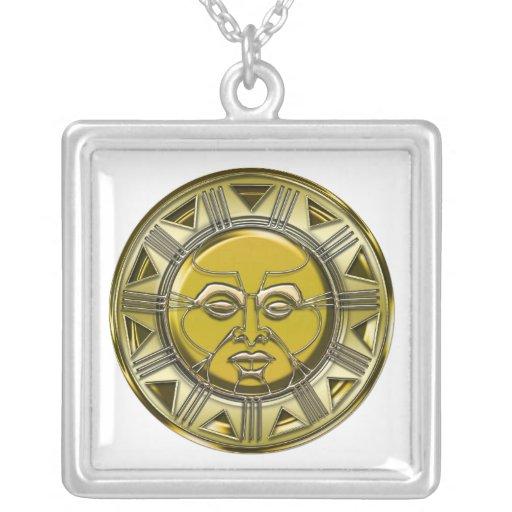 Sun metálico maya grabado en relieve joyerias